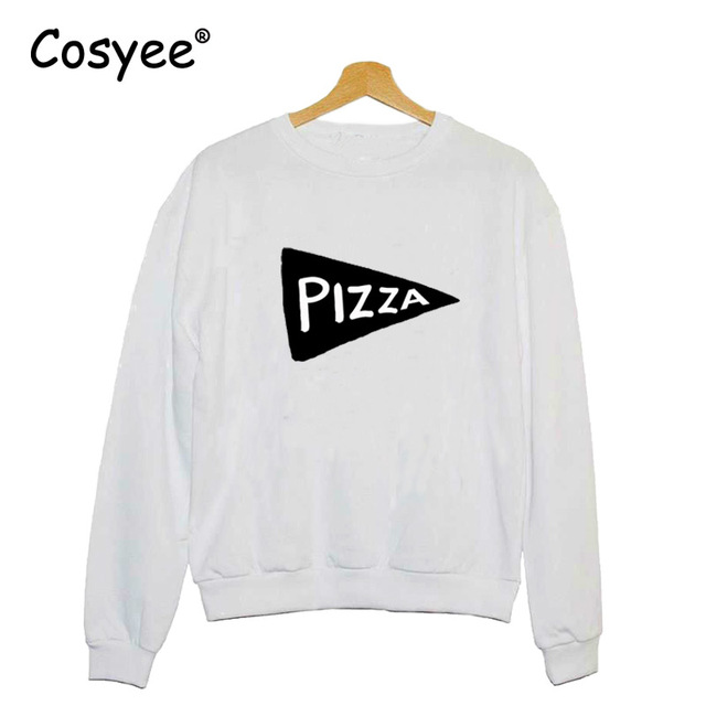 Womens Fashion Pizza Symbol Print Long Sleeves O Neck Pullover