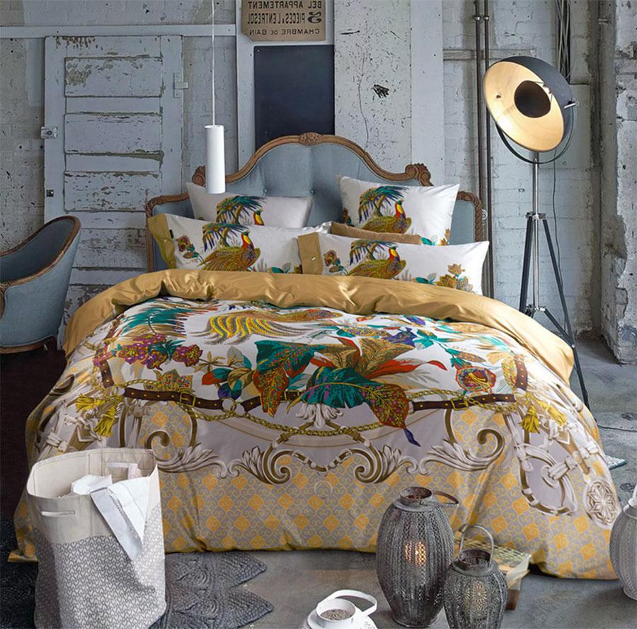 Peacock bedroom set - Vintage Luxury Peacock Bedding Set 100s Full Queen King Cotton European Retro Bedclothes Flat Sheet Pillow Case Comforter Cover