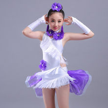 New Girls Kids Latin Dress Rose Red /purple/ Green Latin Tango Rumba Club Dance Wear Children Latin Dance Competition Costumes