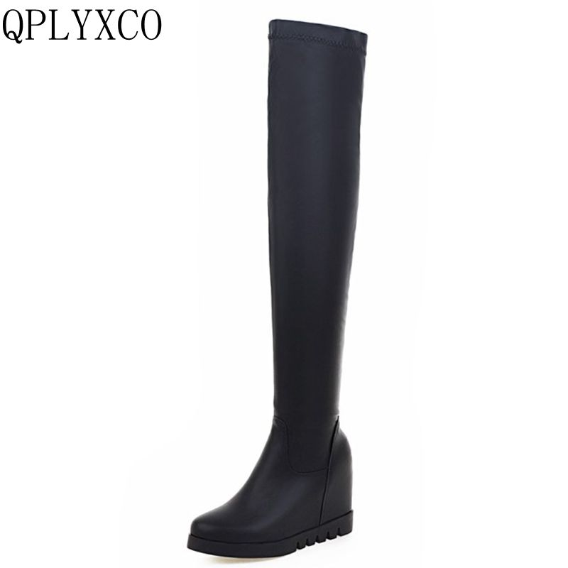 QPLYXCO Big Size 34-43 shoes woman boots Platform warm plush winter Boots Women shoes over the knee high Boots botas mujer L-15 nasipal 2017 new women pu sexy fashion over the knee boots sexy thin high heel boots platform woman shoes big size 34 43 g804