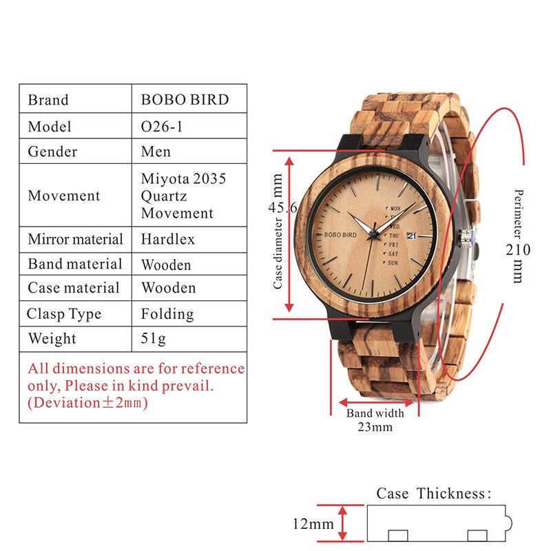 BOBO BIRD MenTimepieces Quartz  Date Wrist Wood Watches 15