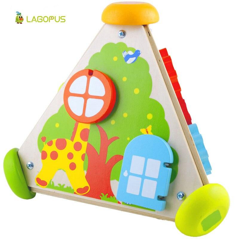 Jouets en bois pour enfants bébé Puzzle apprentissage précoce Cube multifonctionnel en bois horloge boîte à musique - 5