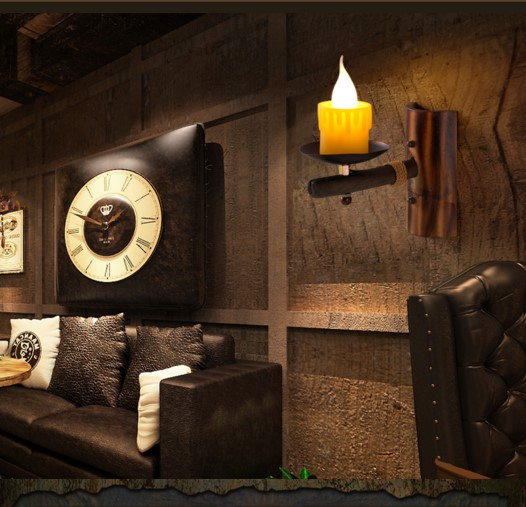 Фотография Pensional Creative Wood Design Industrial Loft Vintage Wall Lamp Fixtures LED Stair Light Wall Sconce Arandelas Wandlamp