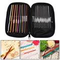 22 Unids Set multicolor de Aluminio Crochet Hooks Agujas Tejer Weave Craft Yarn Knitting Needles Ganchos De Costura Herramientas Croche