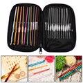 22Pcs Set Multi-colour Aluminum Crochet Hooks Needles Knit Weave Craft Yarn Sewing Tools  Knitting Needles Ganchos De Croche