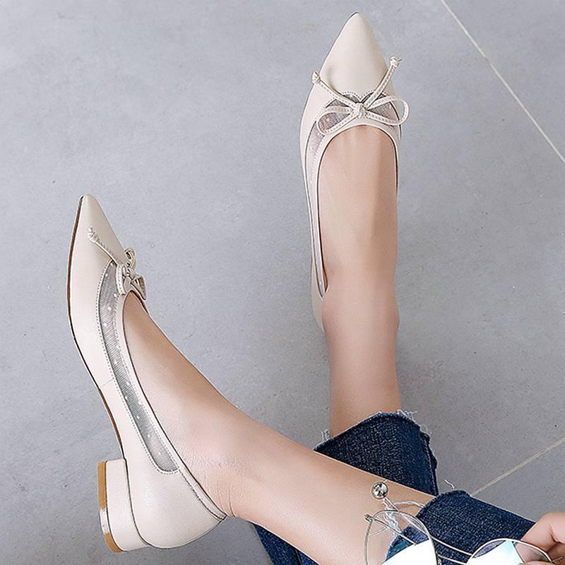 nudo 2019 Del Mujeres Puntiagudo apricot Ld1 Mariposa Tacón Cuero Beige Superestrella Superficial Dedo Oficina Genuino De Primavera Zapatos Pie Cuadrado Las Conducción SaFwqSr
