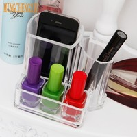 MINGCHENGXIU Transparent Cell Acrylic Crystal Beautician Makeup Organizer Nail Oil Storage Box Lipstick Display Stand Holders