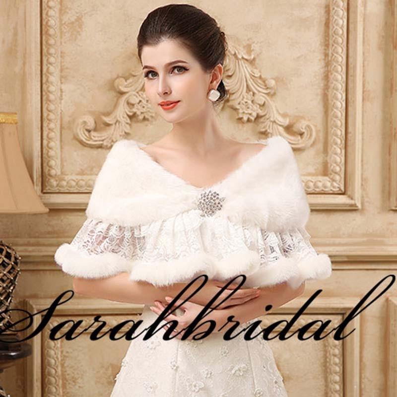 New In Stock Faux Fur White Wraps Shrug For Wedding Dress Winter