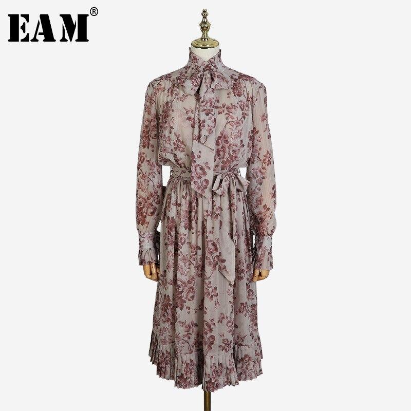 [EAM] 2019 nouveau printemps été col montant à manches longues fleur imprimé Bandage grande taille volants deux pièces robe femmes mode JL665