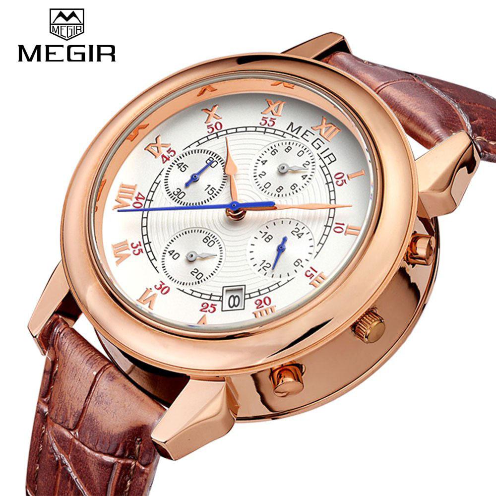Prix pour MEGIR 2013 Chronographe Hommes Montres Quartz Montre Multi-Fonction Calendrier Étanche En Cuir Bande Montre-Bracelet Relogio Masculino