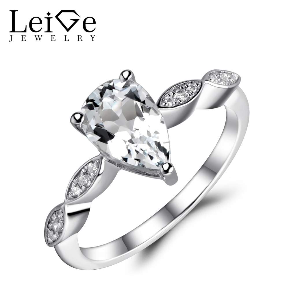 Leige Jewelry Natural White Topaz Ring Sterling Silver 925 Jewelry Teardrop Engagement Promise Rings for Women White Gemstone luxury brand design 925 sterling silver jewelry for women wedding love couple ring white gold color promise engagement rings