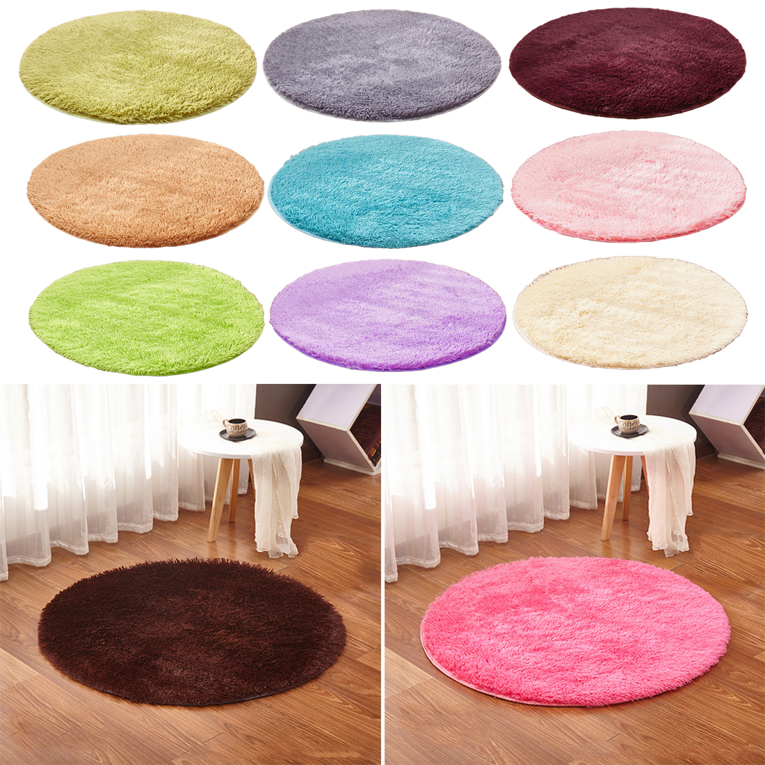 Fluffy Round Rug Carpet For Living Room Kilim Faux Fur Carpet Kids Room Long Plush Rugs For Bedroom Shaggy Area Rug 15 Colors