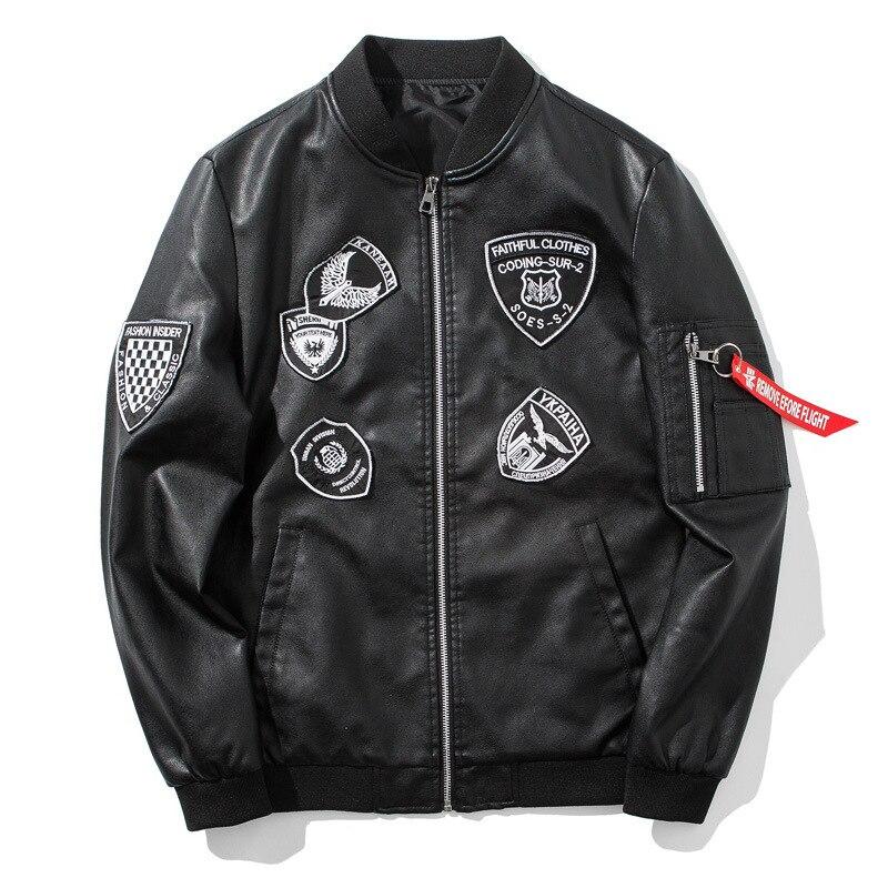 Bomber PU cuir Jaket hommes Biker militaire Baseball vestes Streetwear Hip Hop 2018 mode automne noir en cuir manteau pour hommes S110
