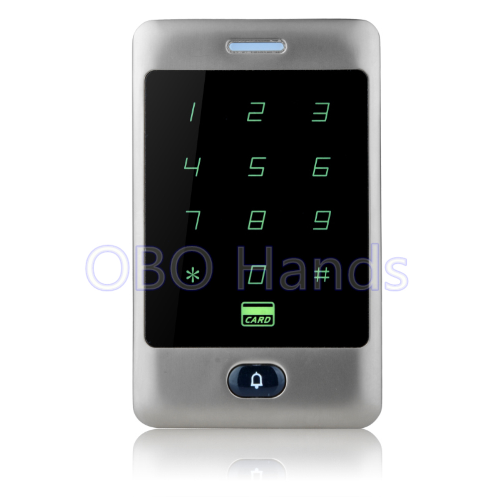Free Shipping Silver Touch Metal Waterproof Access Controller Keypad RFID Door Access Control System Digital Lock For 8000 Users rfid ip65 waterproof access control touch metal keypad standalone 125khz card reader for door access control system 8000 users