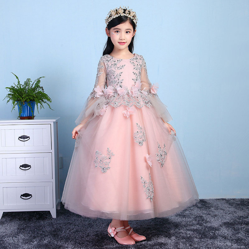 Children 's Dress Princess Flower Girl Performance Dress Birthday Girl Wedding Dress Evening Dress Puff dress gina bacconi dress