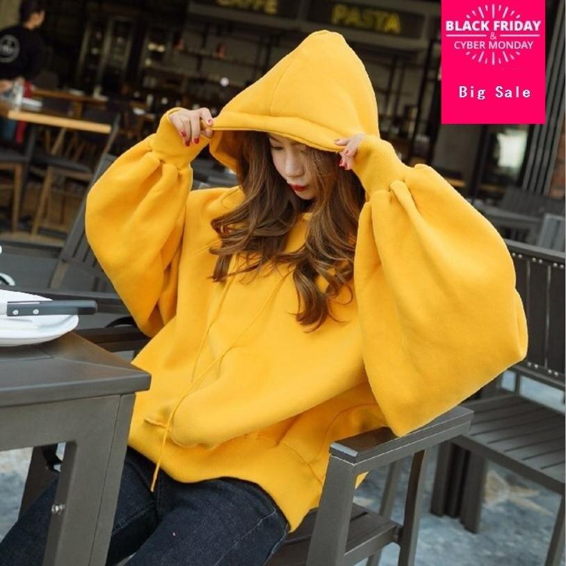 Version coréenne mode femmes sweatshirts 2018 automne nouveau bonbons lanterne manches à capuche lâche pulls vestes à capuche femmes manteau L853