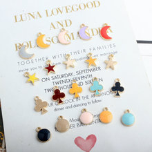 30pcs Gold Color Alloy Moon Star Plum Blossom Round Shape Enamel Charms For Jewelry Making Accessories DIY Bracelet Earrings colorful enamel gold color round party earrings