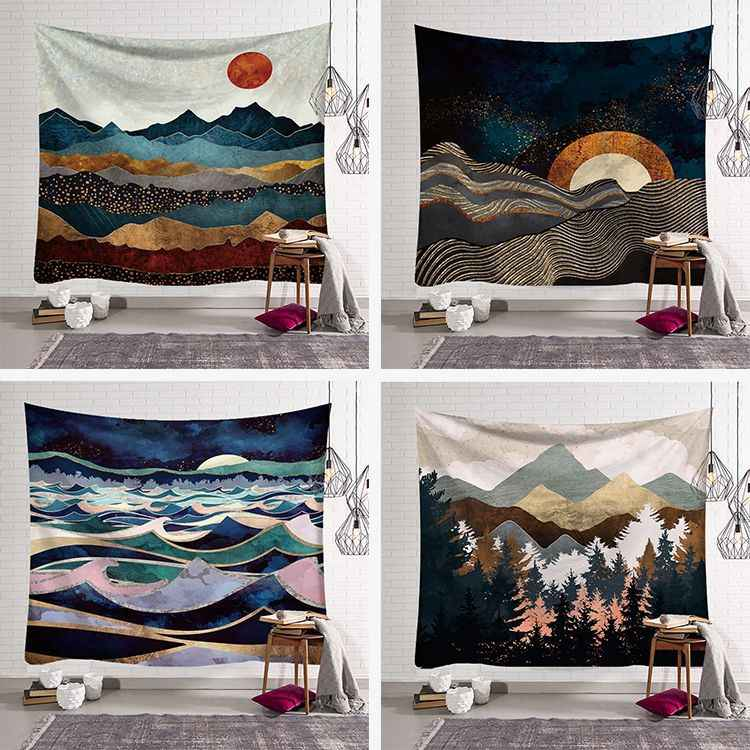 Wall Hanging Mandala Tapestry 150*150cm traveling Camping sunrise oil painting pattern boho Tapestry Yoga pad Sleeping Tapestry