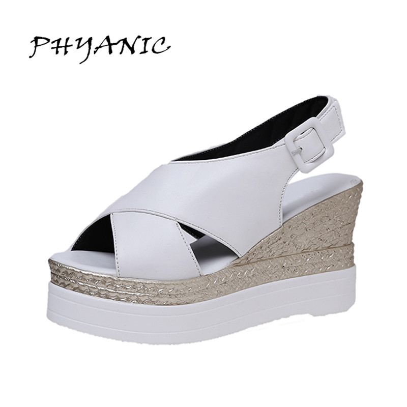 PHYANIC 2017 New Wedges Super High Heel Sandals Platform Summer White Black All-match Shoes For Woman White Shoes PHY3411 phyanic gold silver wedges sandals 2017 new platform casual shoes woman summer buckle creepers bling flats shoes phy4040