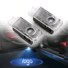 car Accessories 2pcs No Drilling Car LED Ghost Laser Smiley face Logo Projector Door Welcome Light Logo Door Lights For Audi