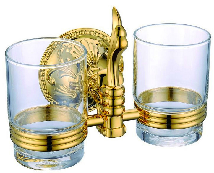 brass gold double tumbler holder cup&tumbler holders tumbler toothbrush holder bathroom accessory GB001b image