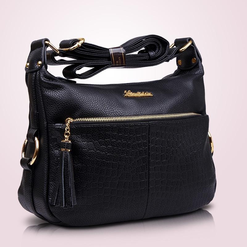 Women\'S Genuine Leather Handbags Casual Shoulder Crossbody Bags Tassel Messenger Bag Hobos Women Bags