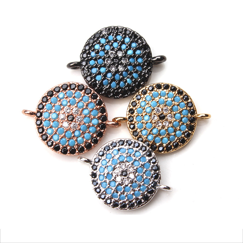 1pc 12*17mm Gold Silver Black Copper Bracelet Jewelry Connector Micro Pave Resin Crystal Charms Pendant Jewelry Components