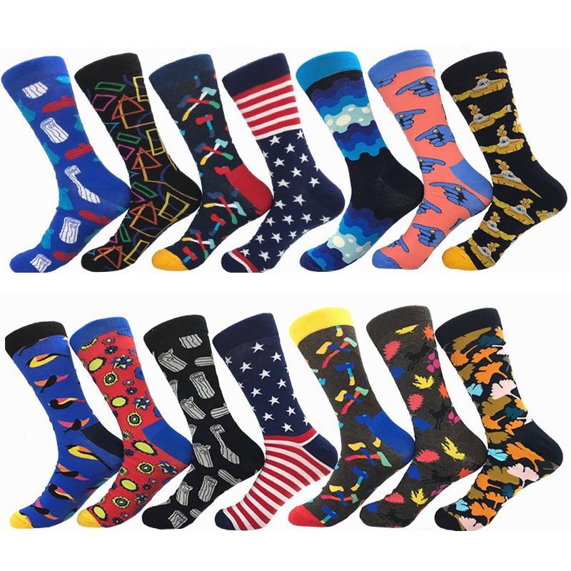 Brand new men's   socks   Funny Happy colorful combed cotton crew   socks   Jacquard striped knee high   socks   for man business dress