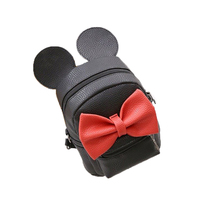 Fashion Children's Bag New Cartoon Mickey Shape Bow Light Small Backpack Shoulder Oblique Lychee Pattern Ladies Casual PU Bags