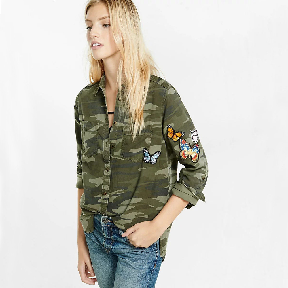 Women Army Green CAMOUFLAGE shirt Embroidered Patch work Military SHIRT  Women Butterfly applique blusas Casual Cotton blouse TOP 2230ce3ebfb