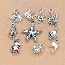 Mix Tibetan Silver Plated Starfish Fish Shells Dolphin Charm Pendants for Jewelry Making DIY Accessories Jewelry Findings(China)