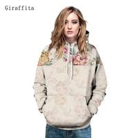Giraffita Women Pullovers Hoody Retro Peony Floral Printed Tops 2017 Autumn Hooded Sweatshirt Couples Lovers Hoodies