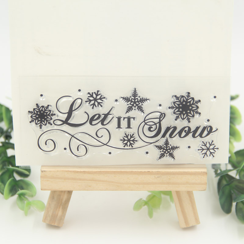12.5x5.5 cm Let it snow Transparent Clear Silicone Stamps for DIY Scrapbooking/Card Making/Kid Christmas Fun Decoration Supplies green j let it snow