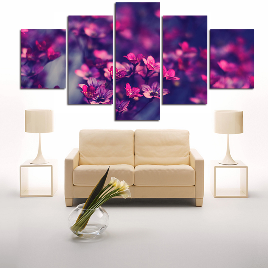 5 panel modern printed purple flowers flowers painting wall art picture canvas canvas art. Black Bedroom Furniture Sets. Home Design Ideas
