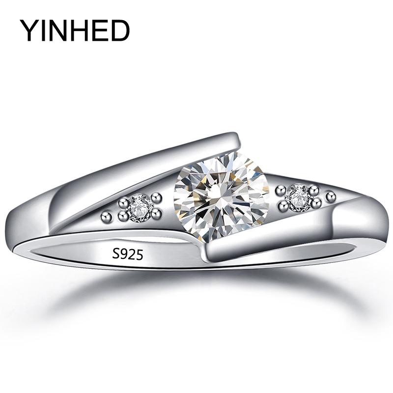 yinhed hot sell wedding rings for women solid 925 sterling silver cubic zirconia cz engagement ring - Selling Wedding Ring