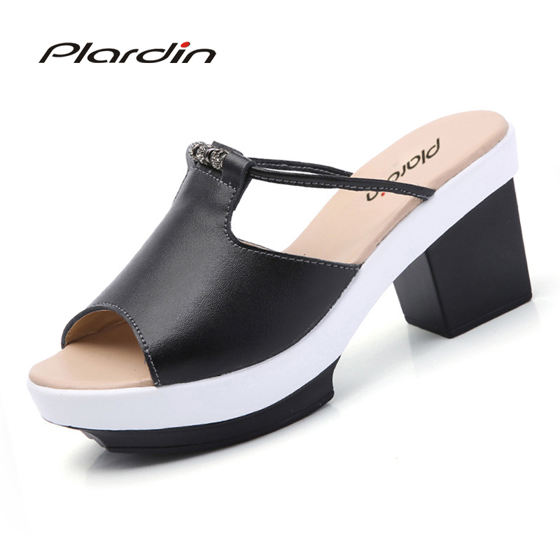 Plardin 2018 Bohemia Summer Casual Women's  Flat Platform Sandals rhinestone square heel Beach Sandals Shoes Woman plardin bohemia summer casual women wedges flat sandals platform 2018 woman ladies beach shoes flip flops genuine leather shoes