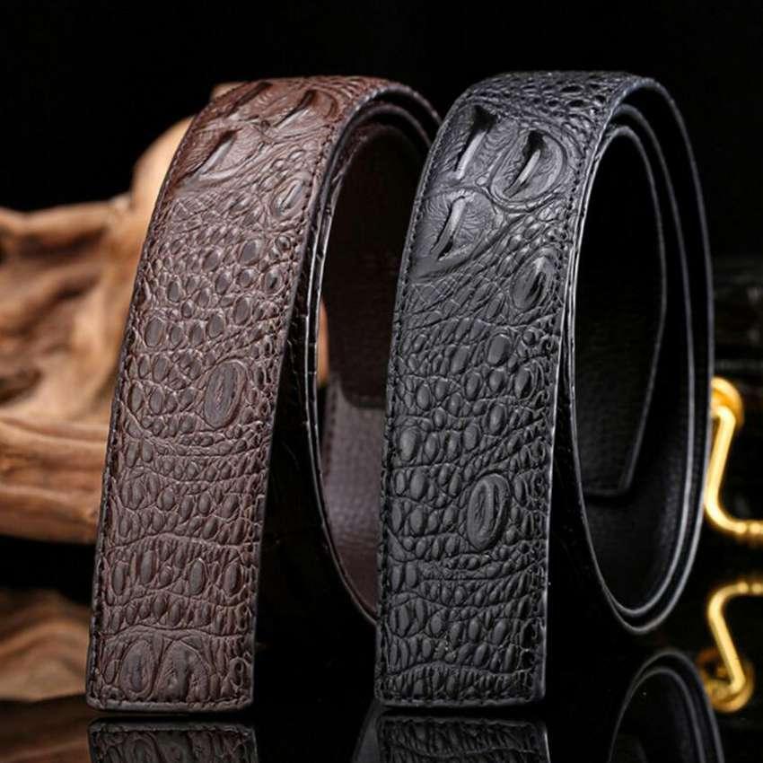 936efcd9cf Homens cinto de couro cinto de designer de Moda homens Hombres Hum correa  de couro cinto de couro masculino Les hommes Sem Fivela