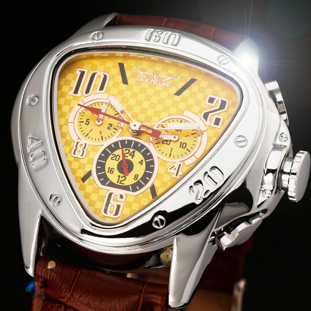 2016 JARAGAR Lujo Reloj Orologio Uomo Triángulo Amarillo Reloj Mecánico Auto Relojes Hombres 6-manos Envío Gratis