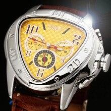 2016 JARAGAR Luxo Relógios Men 6-mãos Relógio Orologio Uomo Triângulo Amarelo Auto Mecânica Automatic Relógio de Pulso Navio Livre