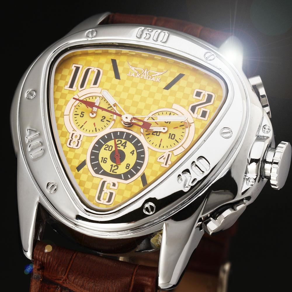 2016 JARAGAR Luxury Orologio Uomo Watch Yellow Triangle Auto Mechanical Watches Men 6-hands Automatic Wristwatch Free Ship