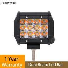 ECAHAYAKU 1 pcs 4 inch 36W amber white double color strobe flash car offroad LED light bar work 12v 24v for jeep ATV SUV truck