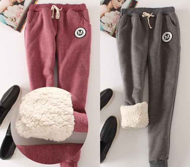 Winter Fleece Warm Women Harem Pants 2017 Big Size Elastic Waist Leisure Thicken Sweatpants Full Length 9 Color Loose Trousers 1