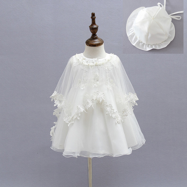 7ccdc9709da 3pcs Baby Dress with Hat Cap Beige Embroidery Lace Baby Girl Christening  Gown 1 Year Birthday Dress Baby Girls Clothes for 0-18M