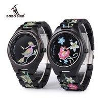 2018 BOBO BIRD Nueva Relojes de Los Hombres de Impresión UV Especial Negro Reloj de Cuarzo para Hombres de Las Mujeres de madera como Regalo relogio masculino Feminino