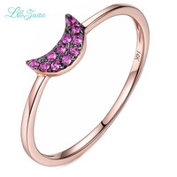 I Zuan 14K Rose Gold Natural 0 063ct Ruby Prong Setting Trendy Red Stone Ring Jewelry
