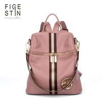FIGESTIN Backpack Female Genuine Leather Women Backpacks School Bag Pink Stripe Multifunctional Leather Back Pack On