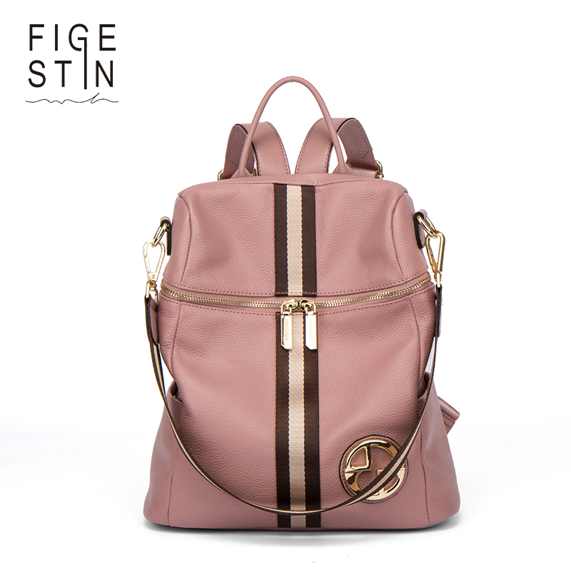 FIGESTIN Backpack Female Genuine Leather Women Backpacks School Bag Pink Stripe Multifunctional