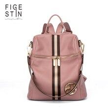 Figestin mochila femenina genuina de las mujeres mochilas de cuero rosado de la raya de cuero multifuncional back pack en el hombro