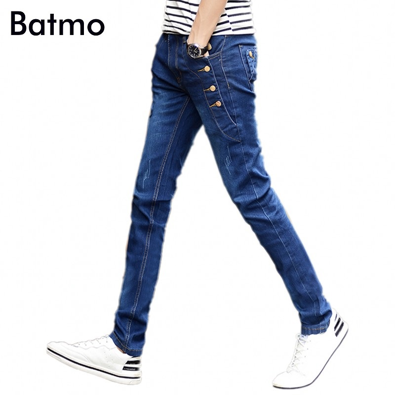 2018 new arrival jeans men Fashion elasticity men's jeans high quality Comfortable Slim male pants ,blue and black.