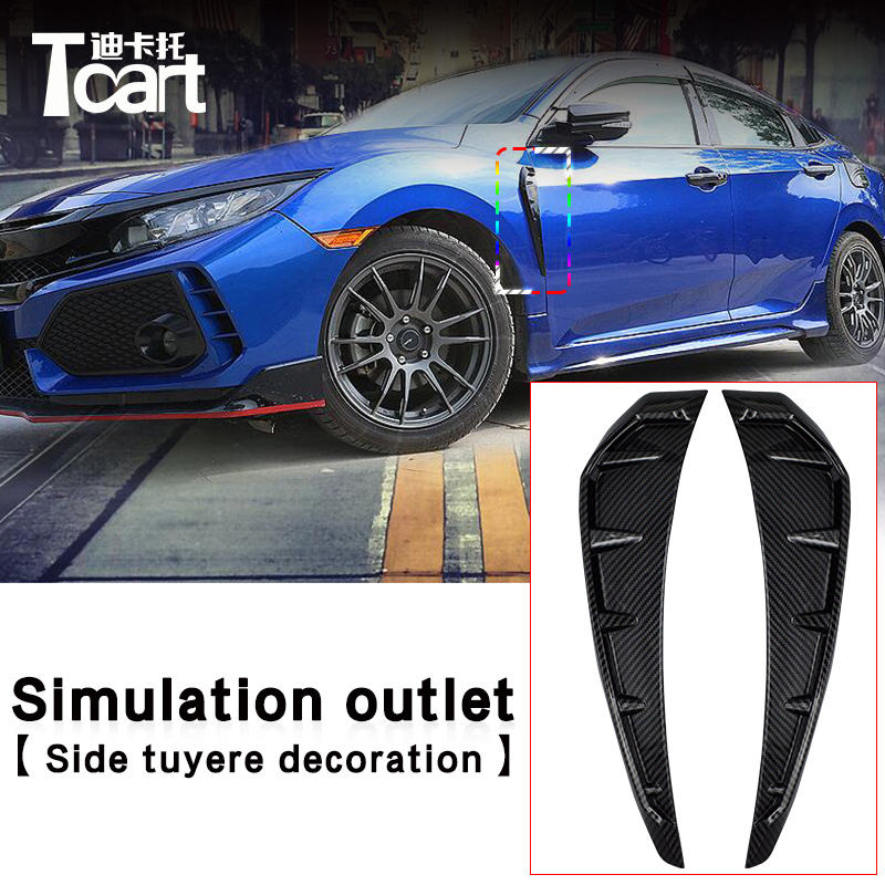 New Car ABS Shark Gills Outlet Simulation Side Vent Sticker For Honda Civic 2016 2017 2018 Air Outlet Decorative Modification shark gills realistic outlet decoration side draught hood vents air intake engine cover modified sticker for chery tiggo t11